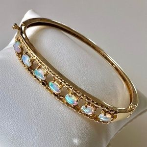 Antique 14k Australian Fire Opal Hinged Bangle 14g